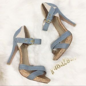Qupid denim blue and cork heels 7.5